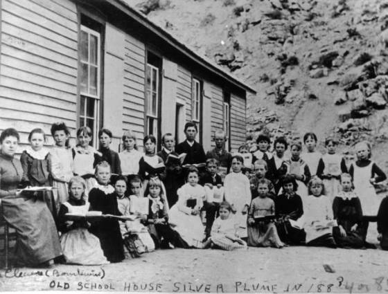 X-2164 Old school house Silver Plume in 1883, 84, or 85.
