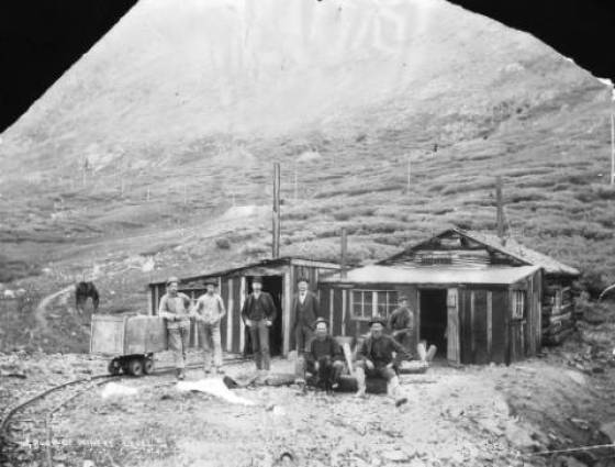 X-61641 Miners pose near the entrance to the Argentine Mine near Silver Plume. 1880s.