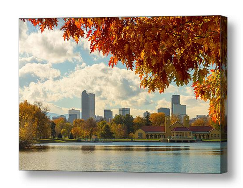 Denver Skyline Fall Foliage View Canvas Print