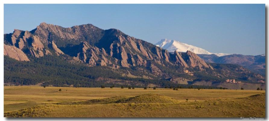 Flatirons and Snow Covered Longs Peak Panorama