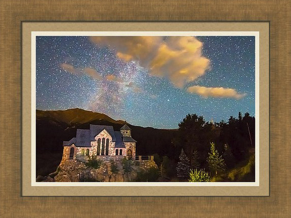 Milky Way Perseid Meteor Shower And Chapel On The Rock Framed Print