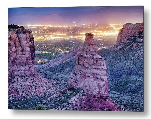 Colorado Independence Monument And City Lights Of Grand Junction Metal Art Print