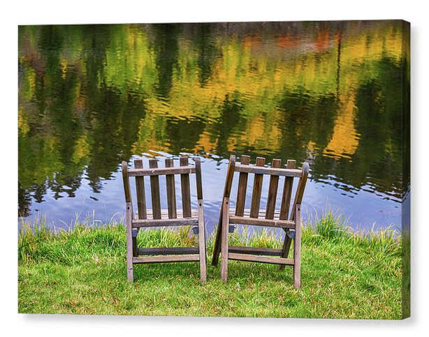 Autumn Season Romantic Lake View For Two Canvas Print