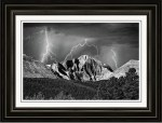 Longs Peak And Lightning In Black And White Framed Print