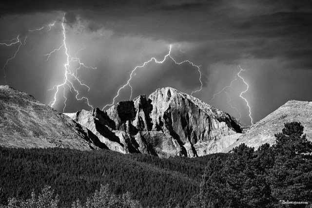 Longs Peak and Lightning Striking In Black and White