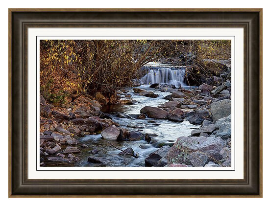 Waterfall On Beautiful Boulder Creek Framed Print