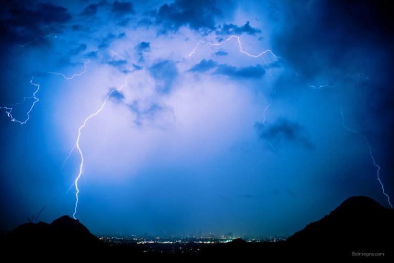 Arc Of Lightning Over The City Art Prints