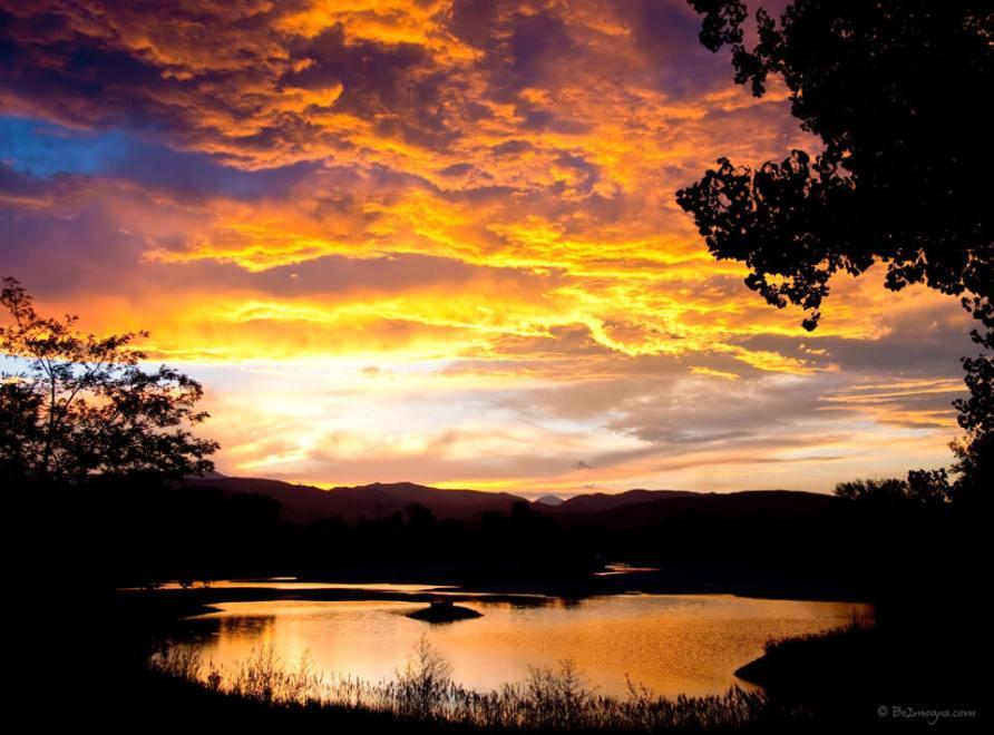 Colorado Country Pond Sunset Sky Art Prints