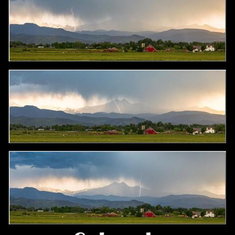Colorado Front Range Longs Peak Lightning And Rain Poster