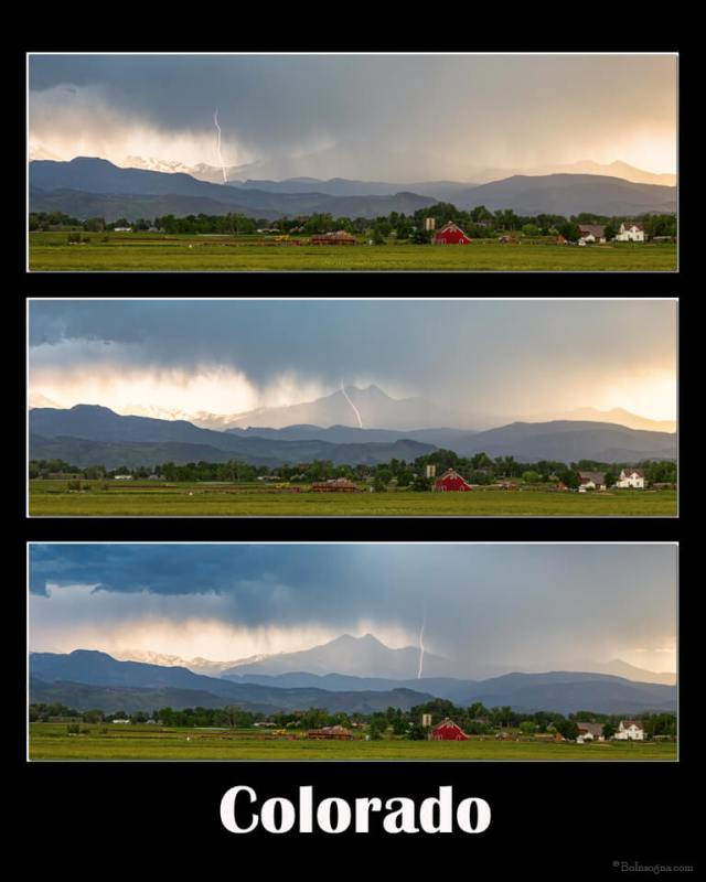 Colorado Front Range Longs Peak Lightning And Rain Poster