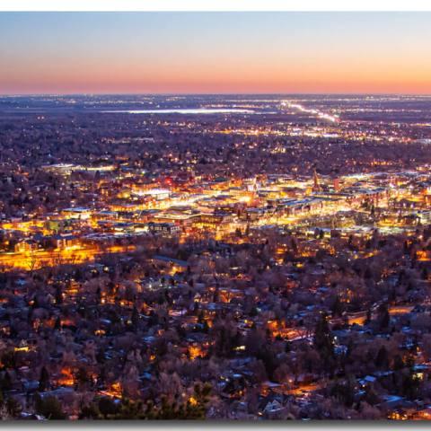 City Of Boulder Colorado Downtown Scenic Sunrise Panorama