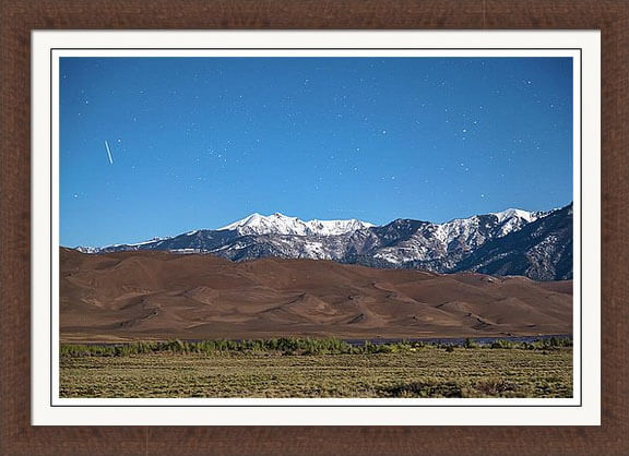 Great Sand Dunes With A Falling Star