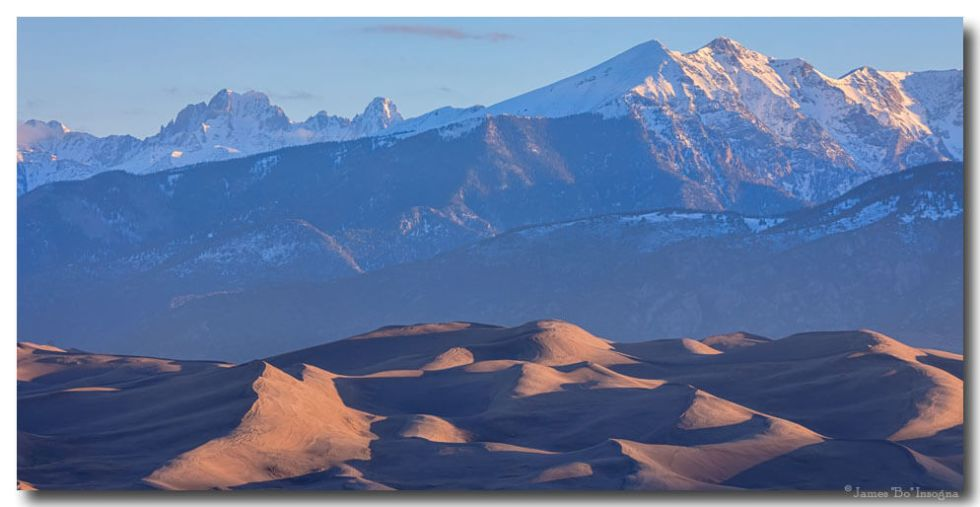 Early Morning Sand Dunes and Snow Covered Peaks Art Prints