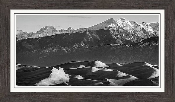 Monochrome Sand Dunes And Snow Covered Peaks Framed Print