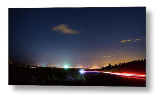 Driving Into Boulder Colorado City Lights Metal Print