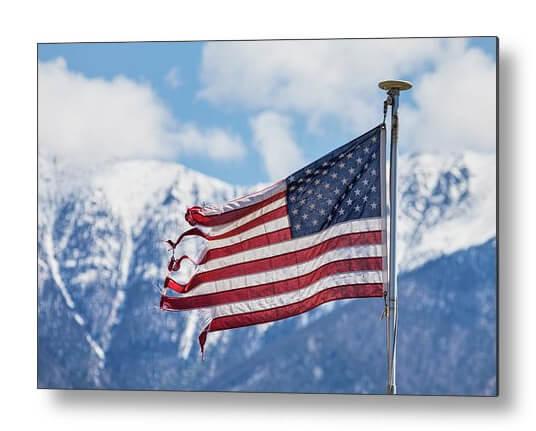 Tattered And Torn USA Flag Metal Print