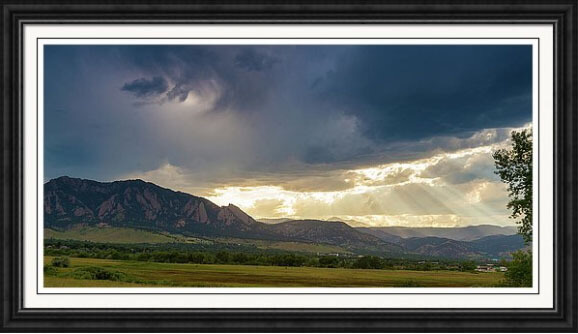 Beams Of Sunlight On Boulder Colorado Foothills Framed Print