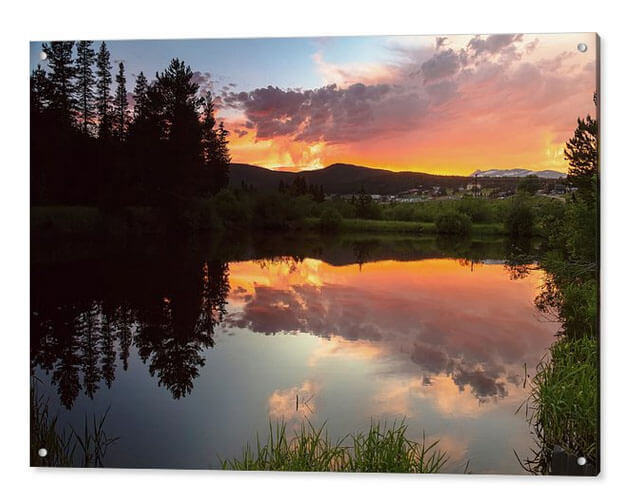 Sunset Reflections In Rollinsville Colorado Acrylic Print