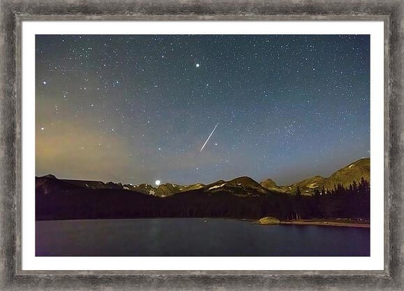 Perseid Meteor Shower Over Colorado Indian Peaks Framed Prints