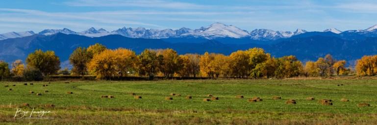 Colorado Rocky Mountain Autumn Hay Harvest Panorama