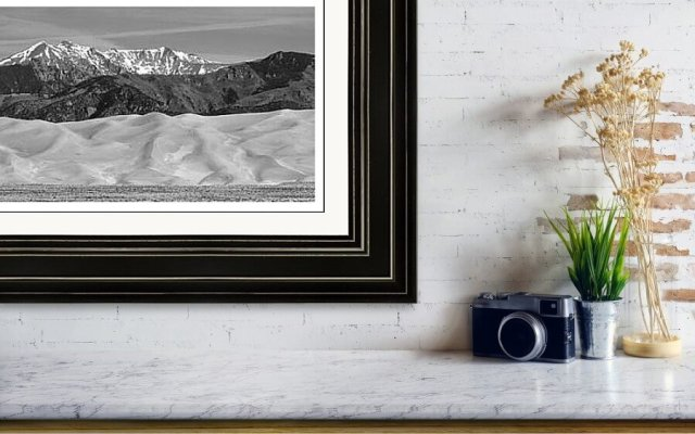 Great Sand Dunes National Park And Preserve Panorama Bw Large Panorama Framed Prints