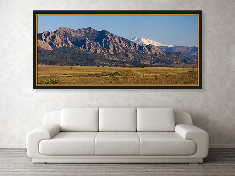 Large Panoramic Print of Boulder Flatirons and Snow Covered Longs Peak