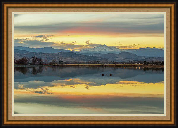 Marvelous Mccall Lake Longs Peak Reflections Framed Print