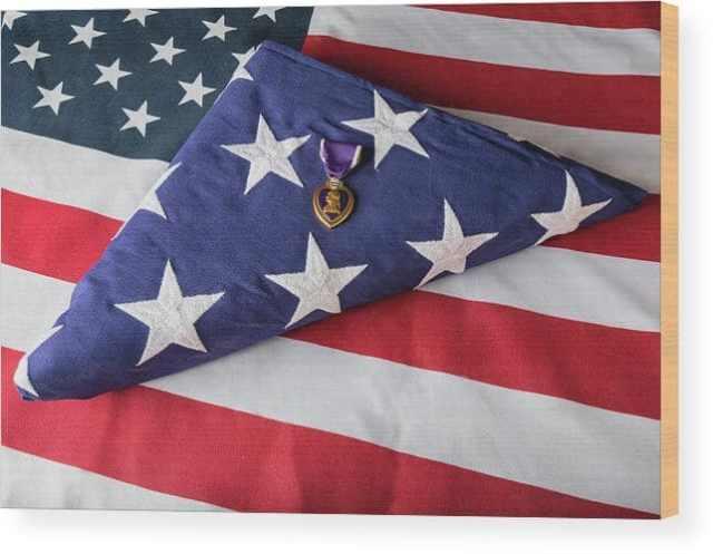American Purple Heart Hero Wood Print