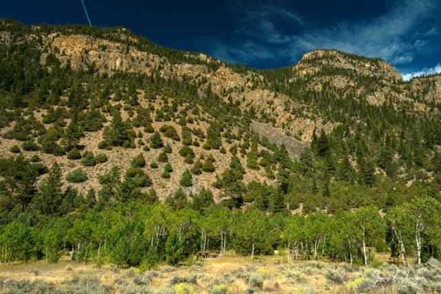 Beautiful Rocky Mountain Picnic Spot And Landscape Art Print