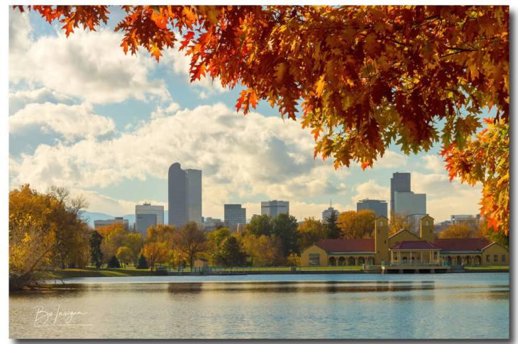 Denver Skyline Fall Foliage View