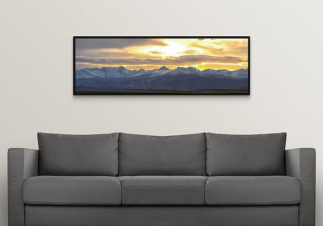 """Colorado Front Range Panoramic Golden Sunset Canvas Print with black floater frame size 20""""×60"""""""