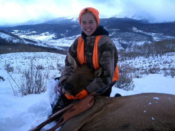 My daughter Sarah displays her cow elk.