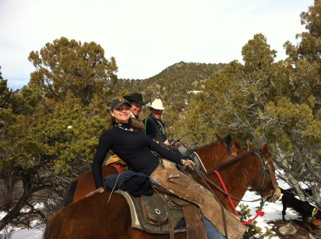 Mindy Paulek enjoys the ride on a recent hunt.