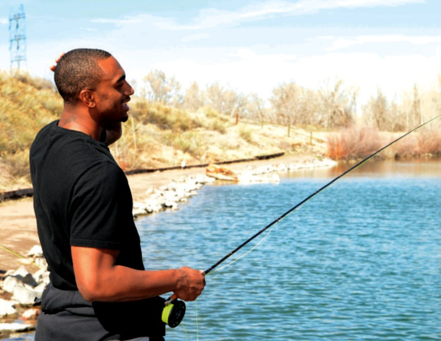 Denver Nugget Darrell Arthur fly fishes. Photo courtesy of Mile High Sports.