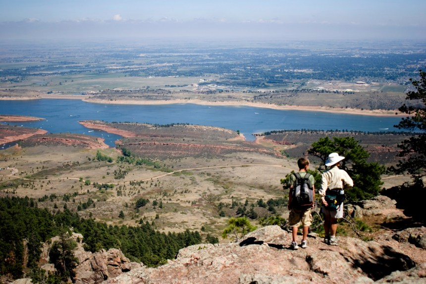 Hikers overlook Horsetooth Reservoir at Lory State Park. CPW file photo.