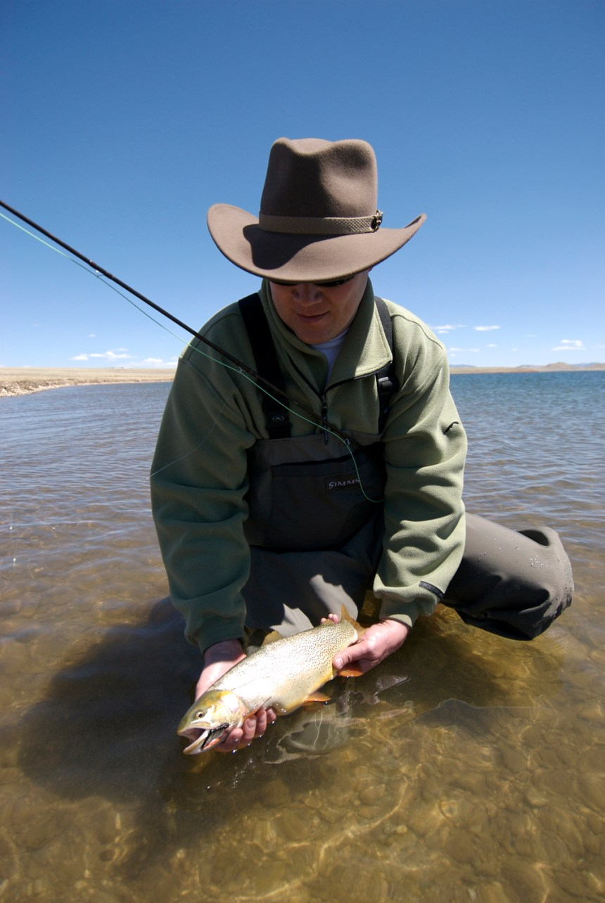 The author with a Snake River cutthroat at Antero Reservoir.