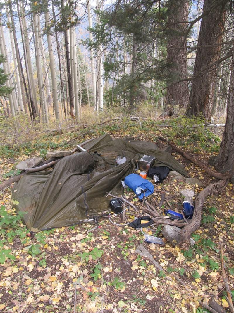Ransacked hunting camp.