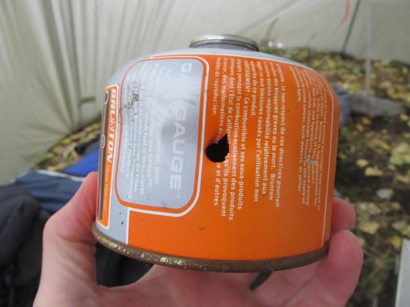 Bear damaged propane canister.