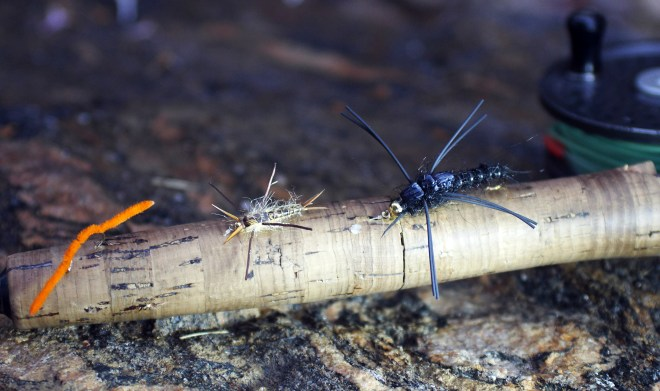 San Juan Worms and large stoneflies are sure bets in high water. Photo by Jerry Neal/CPW.