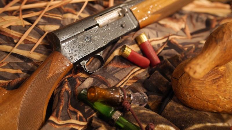 Shotgun, decoy and duck calls