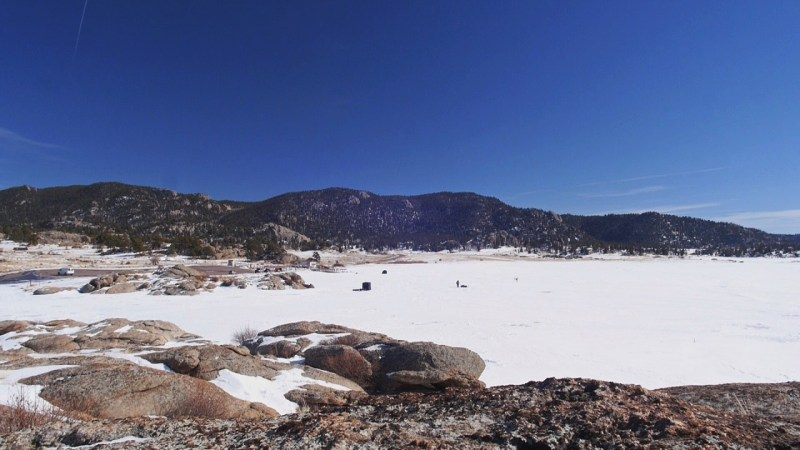 Snow and ice covers Eleven Mile Reservoir in South Park