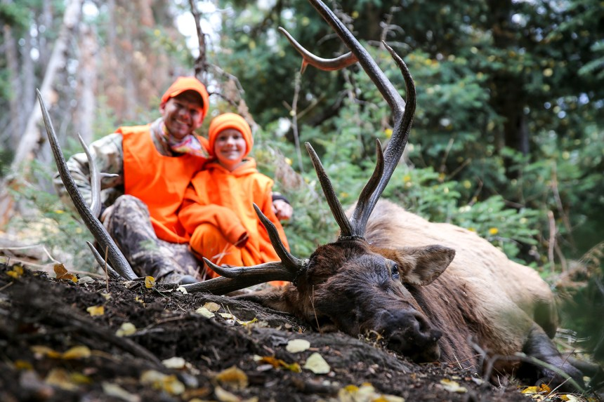 Father and son with bull elk