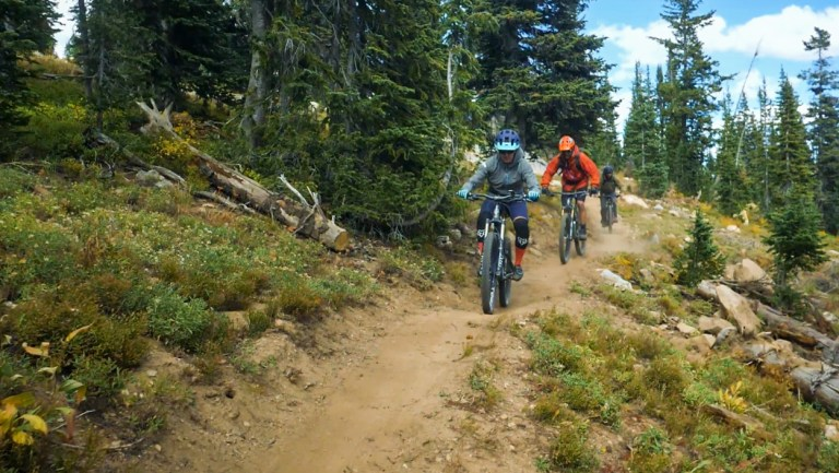 Mountain bikers on the GEM trail