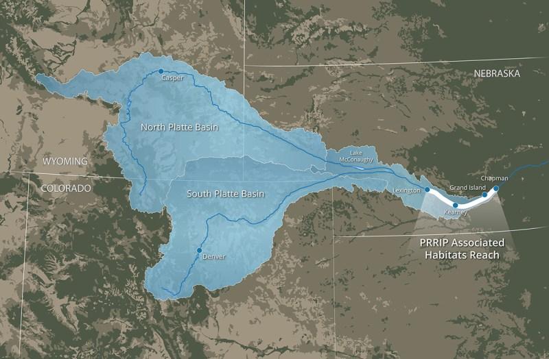 Map of Platte River Recovery Implementation Program (PRRIP) associated habitats reach (AHR) and Platte River watersheds.