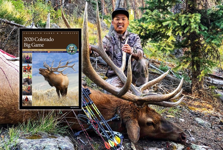 hunter with bull elk and big game brochure