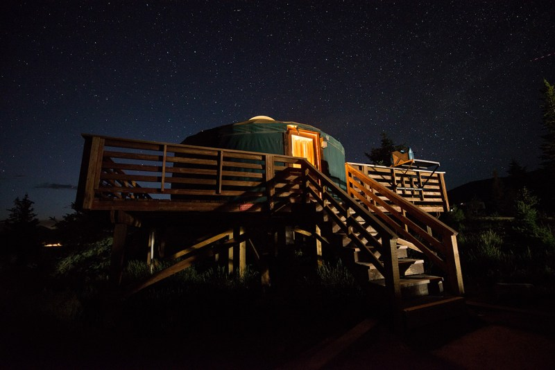 star filled sky above yurt