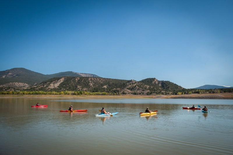 A group of kayakers