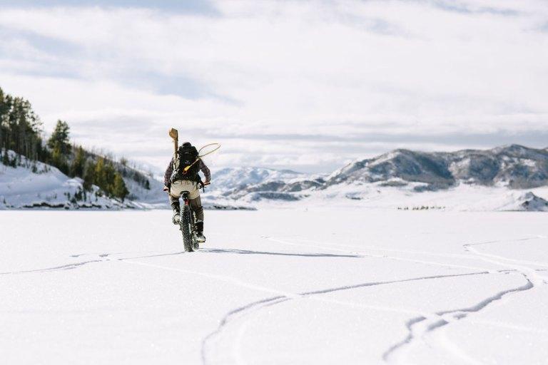 Fat tire bike on lake