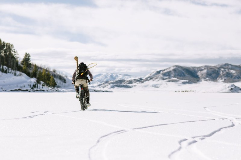 fat tire biking on lake