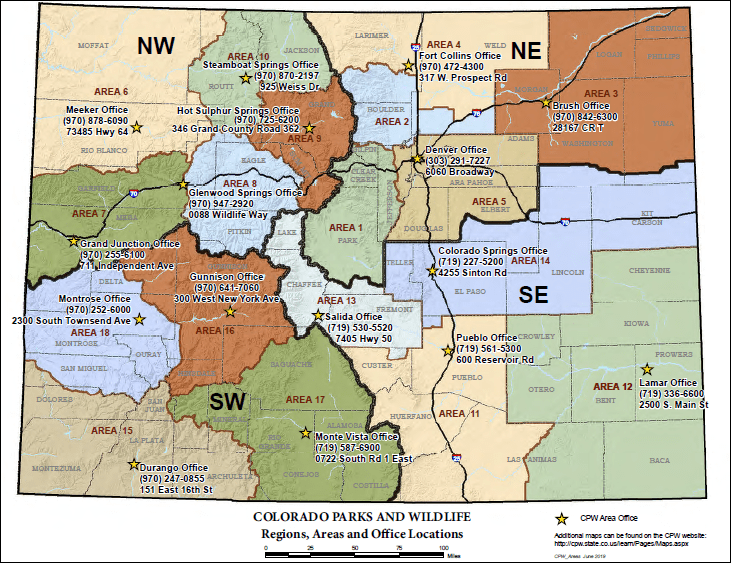 CPW Regions, Areas and Office Location Map